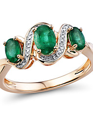 Women's Classic 14 Karat Rose Gold set with Natural Emerald and Diamond Three Stone Ring