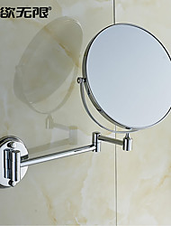 WeiYuWuXian® 360 Rotating Chrome Finish Round Solid Brass Wall Mount Cosmetic Mirror