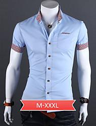 Men's White/Black/Blue Plus Size Shirt, Cotton Blend Casual/Work/Formal Pure Short Sleeve