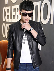Qiu dong season leather motorcycle jacket collar tidal man young han edition cultivate one's morality short pile