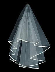 Wedding Veil One-tier Elbow Veils Ribbon Edge Tulle White Ivory