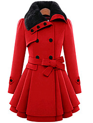 W.E.B      Women's Solid Color Red Coats & Jackets , Casual / Party / Work High-Neck Long Sleeve