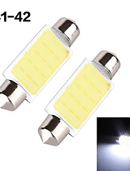 YOBO 3W 350-380LM Festoon 41-42MM 1D COB LED Light for Car Steering Light Bulb / Reading Lamp - (2 PCS /DC 12V)