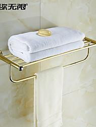 """Полка для ванной Карбонитрид титана Крепление на стену 605 x 220 x 145mm (23.8 x 8.67 x 5.7"""") Медь / Хрусталь Современный"""