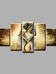 Ручная роспись Люди / Телесный / Абстрактные портретыModern 5 панелей Холст Hang-роспись маслом For Украшение дома