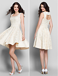 Lanting Knee-length Lace Bridesmaid Dress - Ivory A-line Square