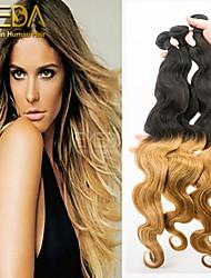 3pcs / lot cheveux ombre de vague de corps péruvien tissage 2 tons ombre humaine extensions de cheveux 1b / 27 cheveu humain tisse 8 '' -