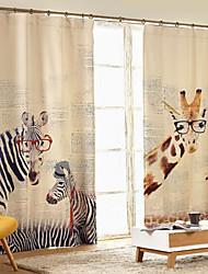 One Panel Country Modern European Giraffidae zebra Animal Kids Room Polyester Panel Curtains Drapes