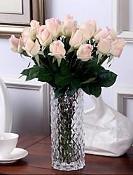 PU / Toque real Rosas Flores artificiais