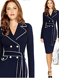 Vita Women's Plus Size Vintage/Sexy/Bodycon/Casual/Party/Long Sleeve Winter Dresses