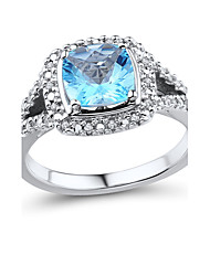 Women's Classic Sterling Silver set with Blue Topaz and Diamond Ring