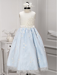 A-line Ankle-length Flower Girl Dress - Lace Jewel with Flower(s) Lace