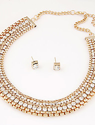 European Style Fashion Metal Shiny Collar Necklace Earrings Set