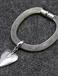 Heart Pendant Silver Wide Chain Bracelet