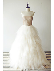 Prom Formal Evening Dress - See Through A-line Scoop Floor-length Tulle Sequined with Ruffles