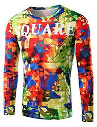 Men's Fashion Irregular Multi-Color Printed Long-Sleeve T-Shirt