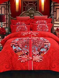 ropa de cama de algodón establecido engrosamiento sarga boda caliente gran edición del lecho de flores cuatro piezas