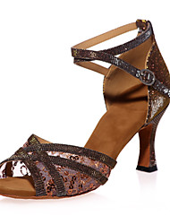 Non Customizable Women's Dance Shoes Latin Sparkling Glitter Flared Heel Black / Brown / Red / Gold
