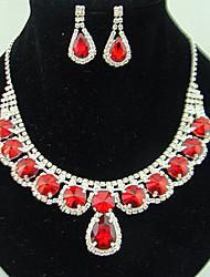 Conjunto de Jóias Rubi Moda Gema imitação de diamante Formato de Cruz Vermelho Para Festa Ocasião Especial AniversárioPresentes de