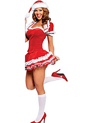 Sweet Polyester Sexy Women's Christmas Costume(Top+Skirt+Hat)