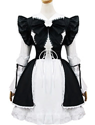 poliéster blanco y negro europa traje de sirvienta type4