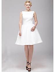 A-line Wedding Dress - Ivory Knee-length Bateau Organza / Satin