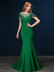 Formal Evening / Black Tie Gala Dress Trumpet / Mermaid Scoop Sweep / Brush Train Cotton with Bow(s) / Pearl Detailing