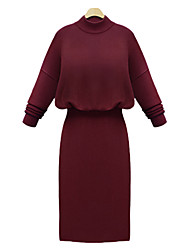 Sheath / Column Mother of the Bride Dress Knee-length Long Sleeve Polyester / Jersey with