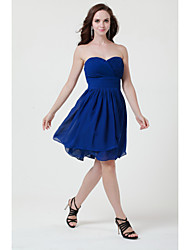 Knee length Burgundy Royal Blue Pool Purple Ivory Silver Black  Sage Jade Pink Chiffon Bridesmaid Dress Strapless