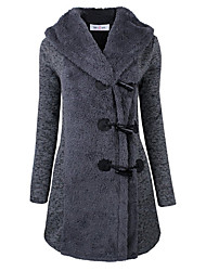 Winter Women's Solid Color Blue / Black / Gray Coats & Jackets , Sexy / Casual / Work Tailored Collar Long Sleeve