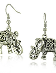 Vintage Look Antique Silver Plated Alloy Elephant Animal Dangle Drop Earring(1Pair)