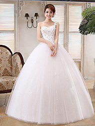 Ball Gown Wedding Dress Floor-length One Shoulder Satin / Tulle with Flower / Sequin