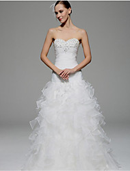 A-line Wedding Dress Vintage Inspired Floor-length Sweetheart Organza with Beading Ruche