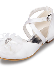 Girl's Heels Spring Summer Fall Winter Satin Outdoor Casual Low Heel Flower White