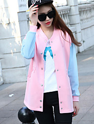Women's Korea Style Fresh Color Block Round Long Sleeve Casaul Hoodies Coat