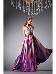 Formal Evening Dress - Multi-color A-line V-neck Floor-length Satin Chiffon