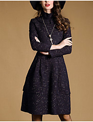 Women's Color Block Multi-color Dress , Casual Turtleneck Long Sleeve