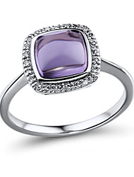 Women's Fashion Sterling Silver set with Amethyst and Diamond  Ring