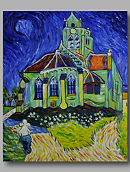 Ready to hang Stretched Hand-Painted Abstract Oil Painting Canvas Van Gogh repro Church Night one Panel