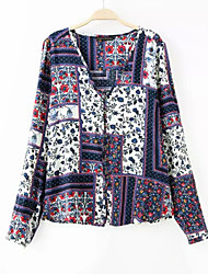 Women's Boho Multi-color Shirt , Sweetheart Long Sleeve