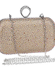 Women Polyester / Metal Minaudiere Clutch / Evening Bag - Gold / Silver / Black