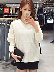 Women's  Korean V Sweet Sexy Back lace Collar Loose Knit Sweater