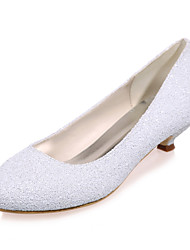 Women's Spring / Summer / Fall Round Toe Glitter Wedding / Party & Evening Low Heel Black / Ivory / White