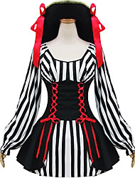 Black and White Polyester Maid Costume Type7