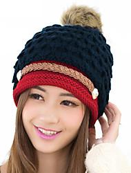Women Winter Knitted Hat Knit Crochet Faux Fur Pom-Pom Beret Hat Braided Ski Cap