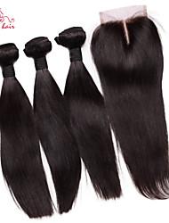 smilco cheveux vierges 6abrazilian droite avec fermeture 3 faisceaux avec fermeture 4 * 4 de dentelle partie médiane armure de cheveux
