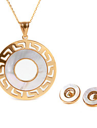Stainless Steel Round Design Pendent Necklace Earring Set Fashion Silver Plated Woman Wedding Jewelry Sets OSS-013RG-RB