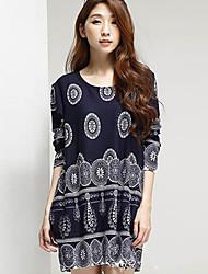 Women's Print Blue Blouse , Round Neck Long Sleeve