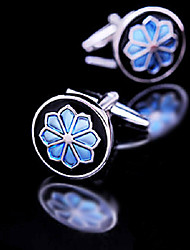 Fashion Men Jewelry Blue Enamel Round Flower Silver Delicate Button Cufflinks