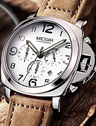 MEGIR® Men's Quartz Watches Fashion Sport Genuine Leather Wristwatch Pointer with A Luminous Calendar Waterproof Luxury Brands Cool Watch Unique Watch